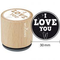 Trestempel, I love you, H: 35 mm, dia. 30 mm, 1 stk.
