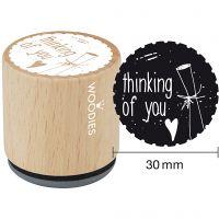Trestempel, thinking of you, H: 35 mm, dia. 30 mm, 1 stk.