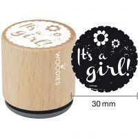 Trestempel, It's a girl, H: 35 mm, dia. 30 mm, 1 stk.
