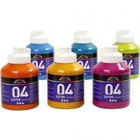 Skole akrylmaling glitter, glitter, ass. farger, 6x500 ml/ 1 kasse