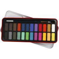 Akvarellfarge, str. 12x30 mm, ass. farger, 24 farge/ 1 pk.