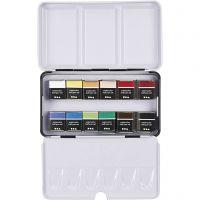 Art Aqua akvarellfarger, ½-pan, str. 10x20 mm, ass. farger, 12 farge/ 1 pk.