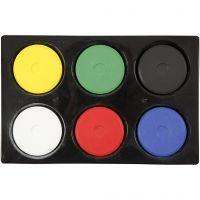 Vannfarge, H: 16 mm, dia. 44 mm, primær farger, 1 sett