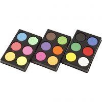 Vannfarge, H: 16 mm, dia. 44 mm, neonfarger, suppl. farger, 1 sett