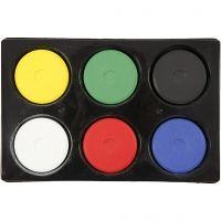 Vannfarge, H: 19 mm, dia. 57 mm, primær farger, 1 sett