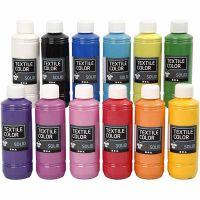 Textil Solid, dekkende, ass. farger, 12x250 ml/ 1 pk.
