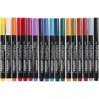 Tekstiltusj, strek 2-3 mm, ass. farger, 18 stk./ 1 pk.