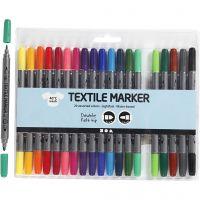 Tekstiltusj, strek 2,3+3,6 mm, standardfarger, 20 stk./ 1 pk.