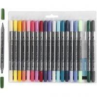 Tekstiltusj, strek 2,3+3,6 mm, suppl. farger, 20 stk./ 1 pk.