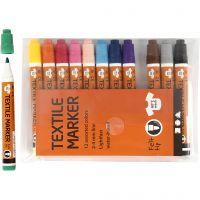 Tekstiltusj, strek 2-4 mm, ass. farger, 12 stk./ 1 pk.