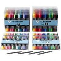 Tekstiltusj, strek 2,3+3,6 mm, standardfarger, suppl. farger, 24x20 stk./ 1 pk.