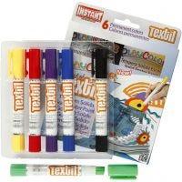 Playcolor Tekstilfarger, L: 14 cm, ass. farger, 6 stk./ 1 pk., 5 g