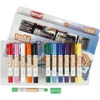 Playcolor Tekstilfarger, L: 14 cm, ass. farger, 12 stk./ 1 pk., 5 g