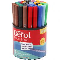 Berol Colourfine, dia. 10 mm, strek 0,3-0,7 mm, ass. farger, 42 stk./ 1 boks
