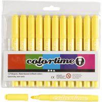 Colortime Tusj, strek 5 mm, sitron gul, 12 stk./ 1 pk.
