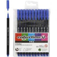 Colortime Fineliner Tusj, strek 0,6-0,7 mm, mørk blå, 12 stk./ 1 pk.