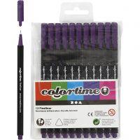 Colortime Fineliner Tusj, strek 0,6-0,7 mm, lilla, 12 stk./ 1 pk.
