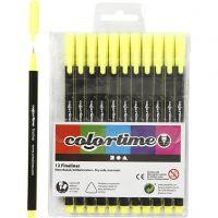 Colortime Fineliner Tusj, strek 0,6-0,7 mm, gul, 12 stk./ 1 pk.