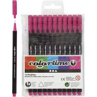 Colortime Fineliner Tusj, strek 0,6-0,7 mm, cyklamen, 12 stk./ 1 pk.
