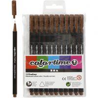 Colortime Fineliner Tusj, strek 0,6-0,7 mm, brun, 12 stk./ 1 pk.