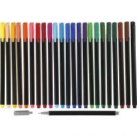 Colortime Fineliner Tusj, strek 0,6-0,7 mm, ass. farger, 24 stk./ 1 pk.