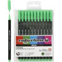 Colortime Fineliner Tusj, strek 0,6-0,7 mm, lys grønn, 12 stk./ 1 pk.