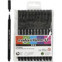Colortime Fineliner Tusj, strek 0,6-0,7 mm, svart, 12 stk./ 1 pk.