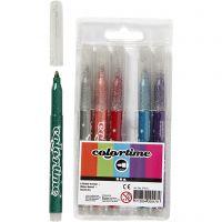 Colortime glittertusj, strek 2 mm, ass. farger, 6 stk./ 1 pk.