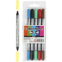 Colortime Dobbeltusj, strek 2,3+3,6 mm, standardfarger, 6 stk./ 1 pk.