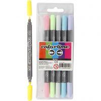 Colortime Dobbeltusj, strek 2,3+3,6 mm, pastellfarger, 6 stk./ 1 pk.