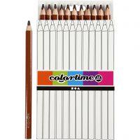 Colortime fargeblyanter, L: 17,45 cm, mine 5 mm, JUMBO, brun, 12 stk./ 1 pk.