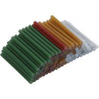 Limstenger, L: 10 cm, dia. 7 mm, glitter, gull, grønn, rød, sølv, 100 stk./ 1 pk.