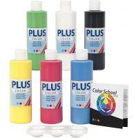 Plus Color hobbymaling, primær farger, 6x250 ml/ 1 pk.