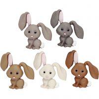 Figurknapper, kaniner, H: 28 mm, 5 stk./ 1 pk.