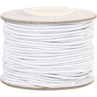Elastikksnor, tykkelse 1 mm, hvit, 25 m/ 1 rl.