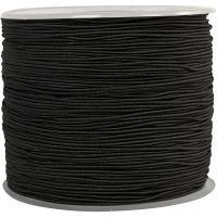 Elastikksnor, tykkelse 1 mm, svart, 250 m/ 1 rl.