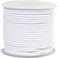 Elastikksnor, tykkelse 2 mm, hvit, 25 m/ 1 rl.