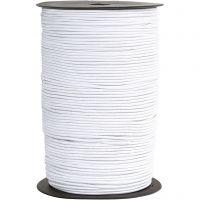 Elastikksnor, tykkelse 2 mm, hvit, 250 m/ 1 rl.