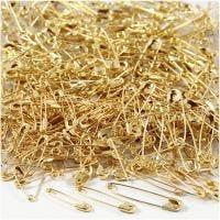 Sikkerhetsnåler, L: 19+22+28 mm, tykkelse 0,5-0,6 mm, gull, 600 stk./ 1 pk.