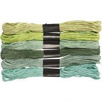 Harmoni broderigarn, tykkelse 1 mm, grønn glitter, 6 bunt/ 1 pk.