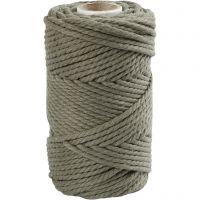 Macramè-rep, L: 55 m, dia. 4 mm, mosegrønn, 330 g/ 1 rl.