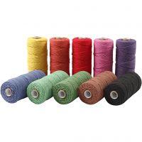 Knyttegarn, L: 315 m, tykkelse 1 mm, Tynn kvalitet 12/12, sterke farger, 10x220 g/ 1 pk.