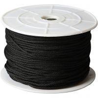 Knyttesnor, tykkelse 2 mm, svart, 50 m/ 1 rl.