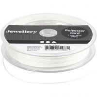 Polyester snor, tykkelse 1 mm, hvit, 50 m/ 1 rl.