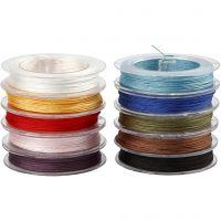 Polyester snor, tykkelse 1 mm, ass. farger, 10x50 m/ 1 pk.