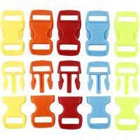 Klikklås, L: 29 mm, B: 15 mm, hullstr. 3x11 mm, ass. farger, 100 stk./ 1 pk.