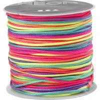 Multicolor knyttesnor, tykkelse 1 mm, neonfarger, 28 m/ 1 rl.