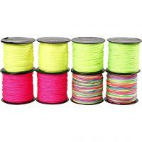 Knyttesnor, tykkelse 1 mm, neon grønn, neon pink, neon gul, neonmix, 8x28 m/ 1 pk.