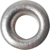 Snøreringer, H: 3 mm, dia. 8 mm, hullstr. 4,8 mm, sølv, 50 stk./ 1 pk.