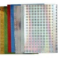 Holografipapir, A4, 210x297 mm, 120 g, 8 ass. ark/ 1 pk.